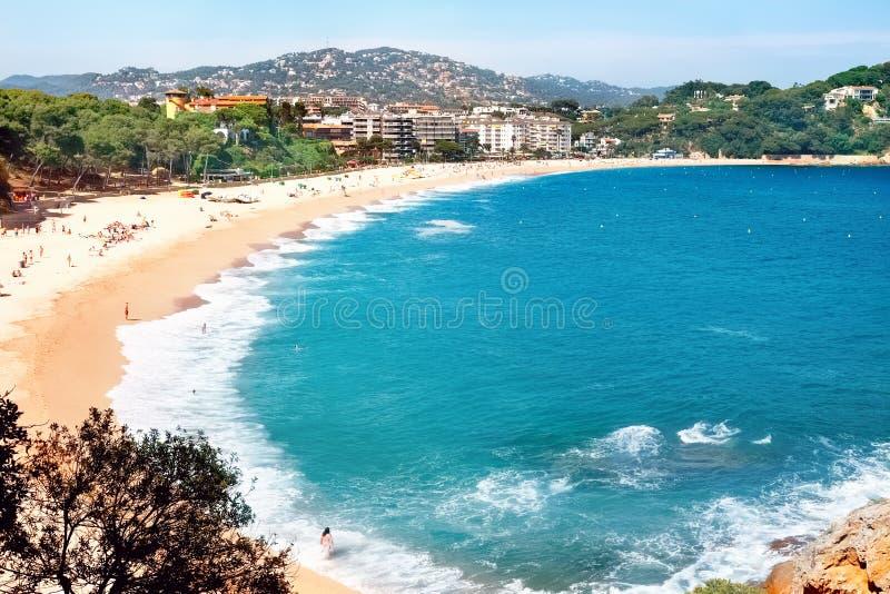 Fenalsstrand in Lloret de Mar Costa Brava, Catalonië, Spanje stock foto's