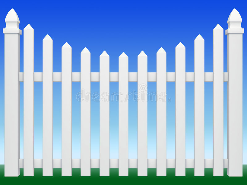 Fence. White fence on color background vector illustration