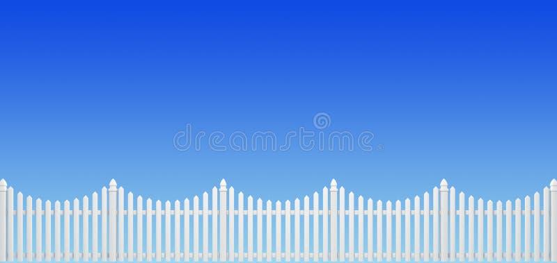 Fence. White fence on blue sky background vector illustration