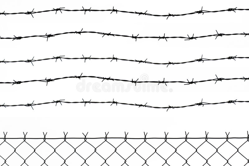 Fence with 5 barbed wires vector illustration