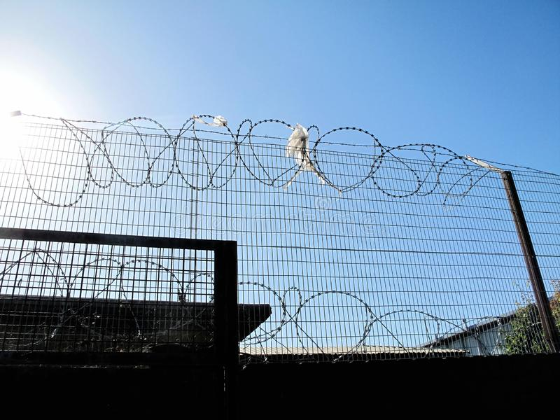 Barbed & razor wire security protection on fence royalty free stock photography