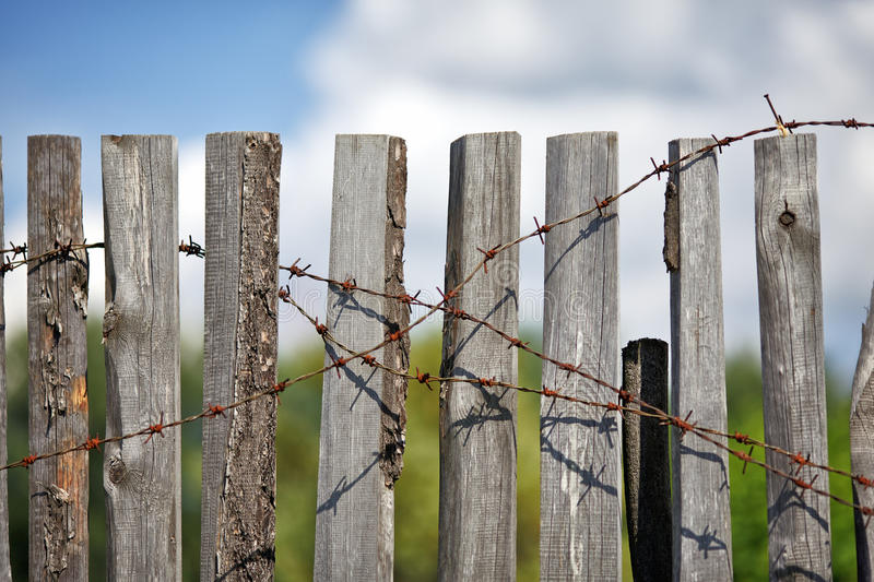 Download Fence With Barbed Wire stock photo. Image of gate, backdrop - 21937244