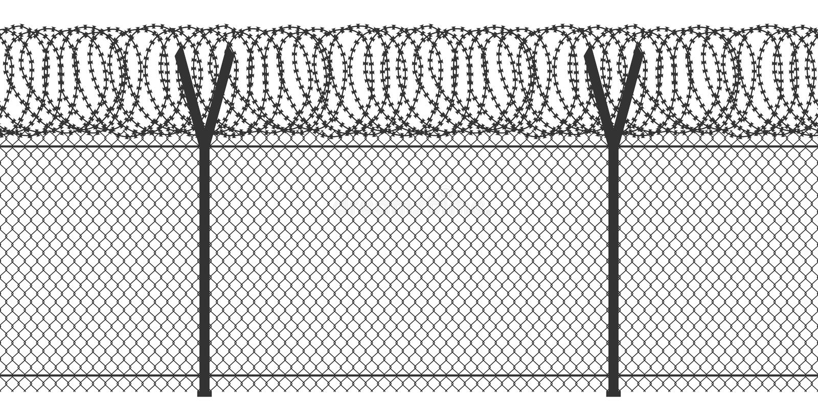 Fence with barbed wire. Vector seamless repeating background. Metal grid isolated on white. Constructive security element. Protects against illegal entry into royalty free illustration