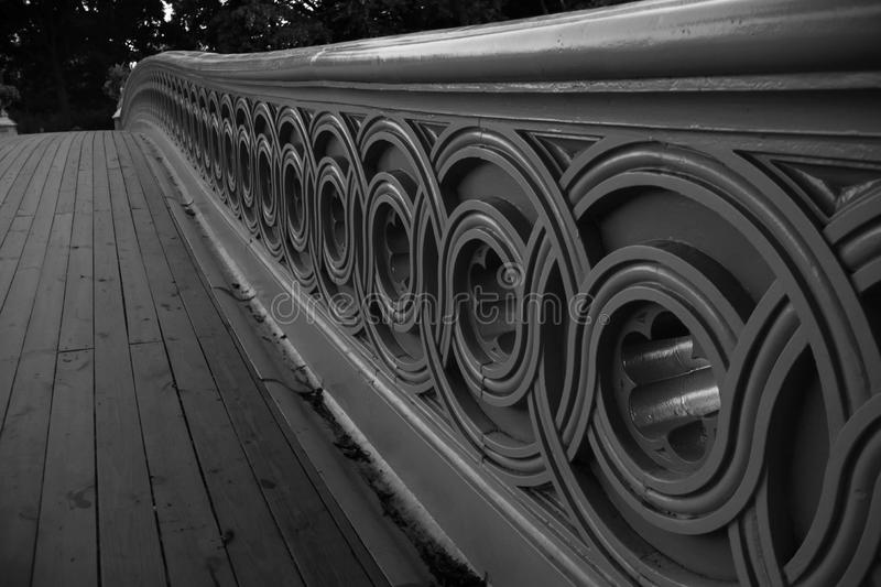Fence of Bow bridge in close up view, Central Park stock photography