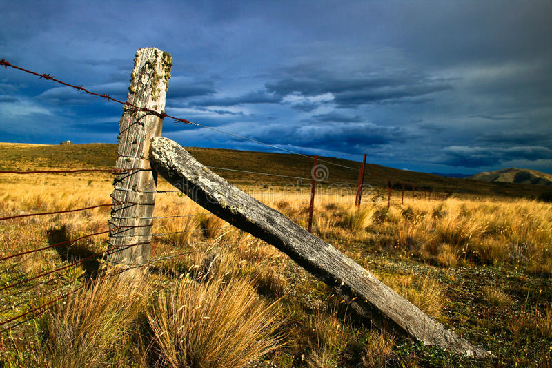 Fence on Canterbury highlands royalty free stock image