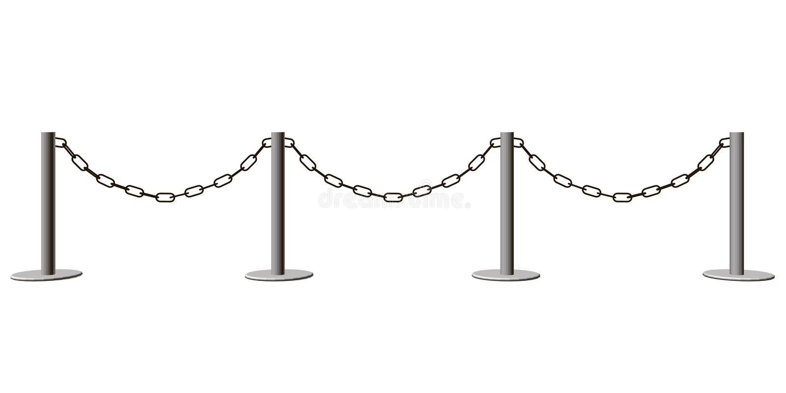 Fence with chain isolated on white background. 3D. Vector illust vector illustration