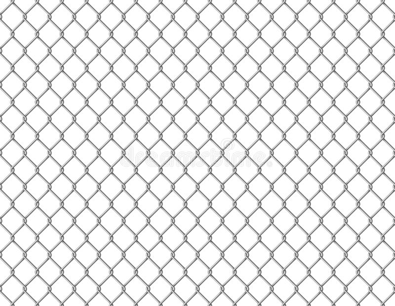 Fence chain seamless. Metallic wire link mesh seamless pattern prison barrier secured property barbed wall steels stock illustration