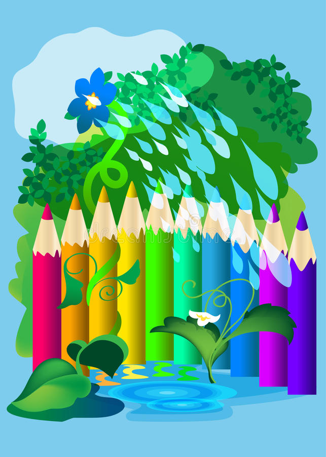 Fence of colored pencils stock illustration