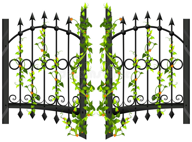 Fence design with vine and flower stock illustration