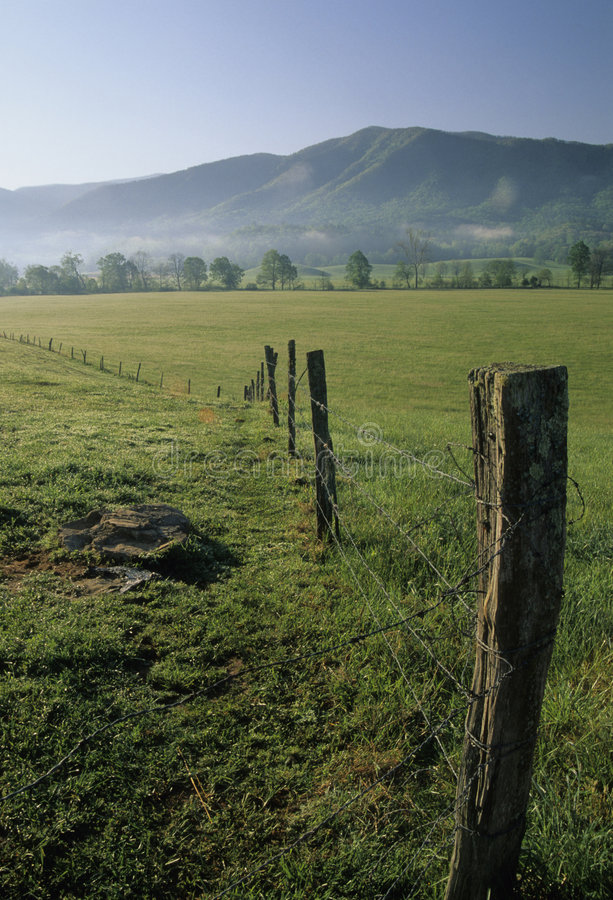 Fence, Fields, Spring, Cades Cove stock photos