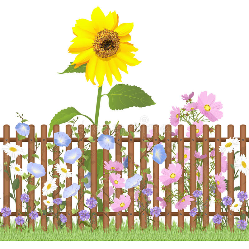 Fence and flowers repeating pattern