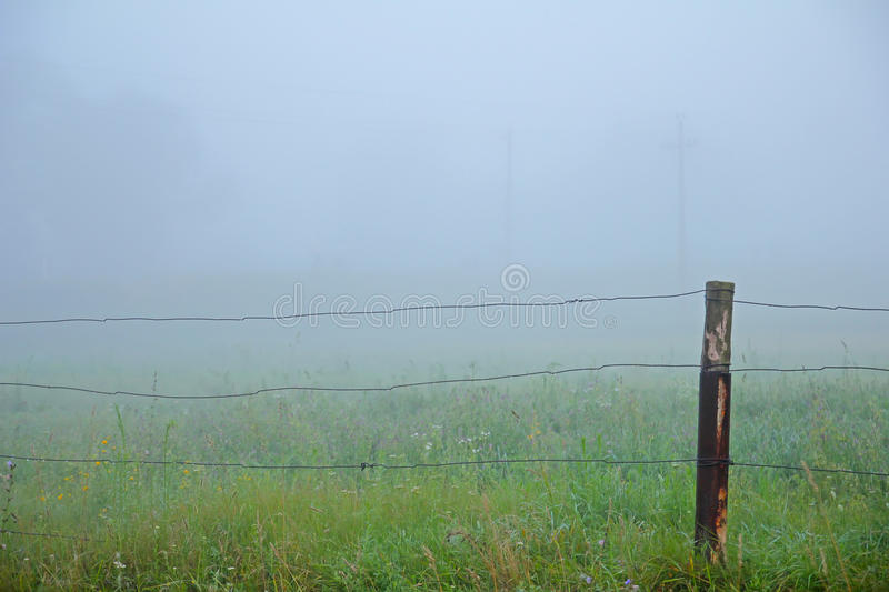 Fence and Fog at spring morning stock images