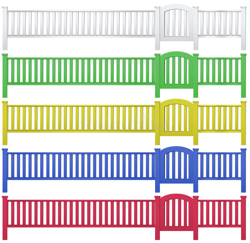 Fence and garden gate in five colors. Illustration stock illustration