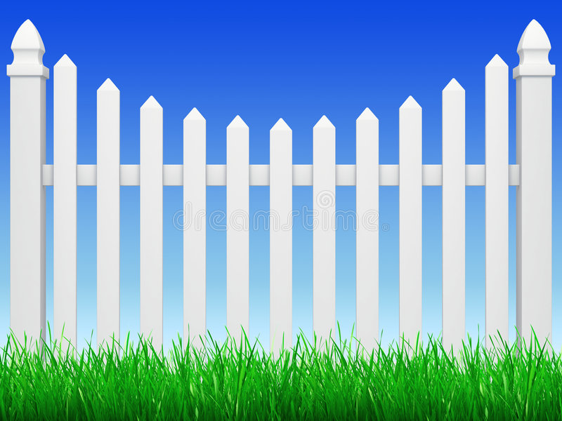 Fence with grass. Fence on blue sky with green grass royalty free illustration