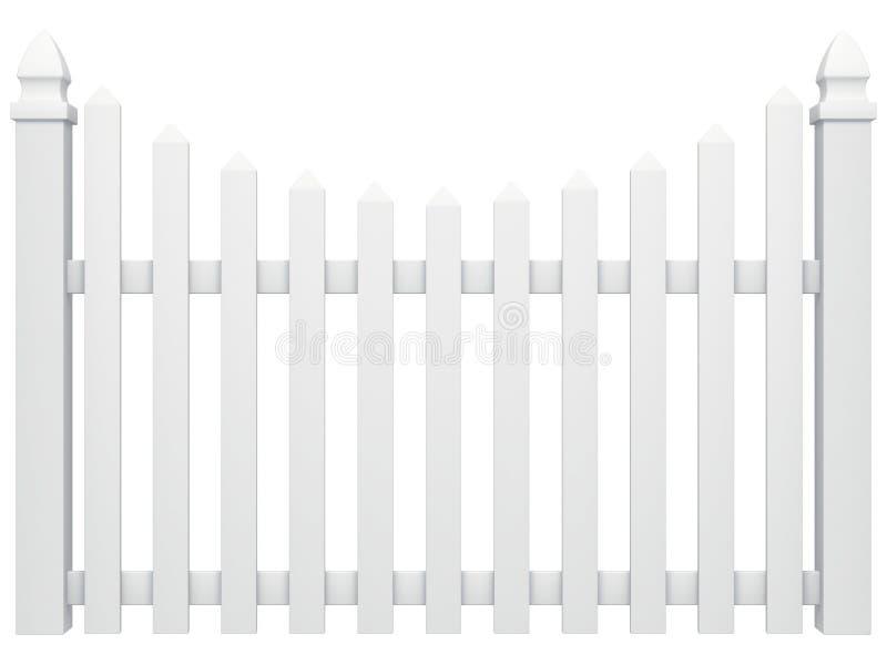 Fence isolated. White fence isolated on white stock illustration