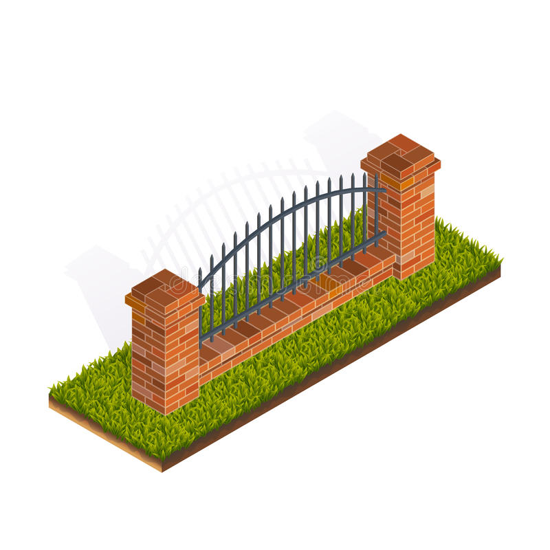 Fence Isometric Illustration vector illustration