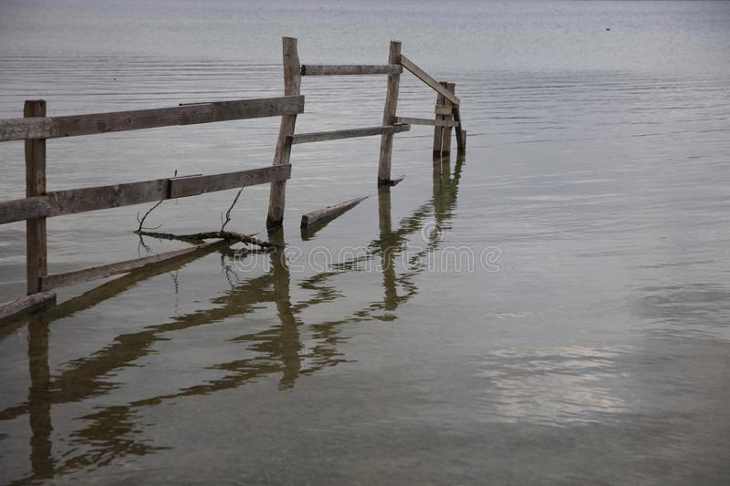Fence at Lake Constance near Radolfzell stock photography