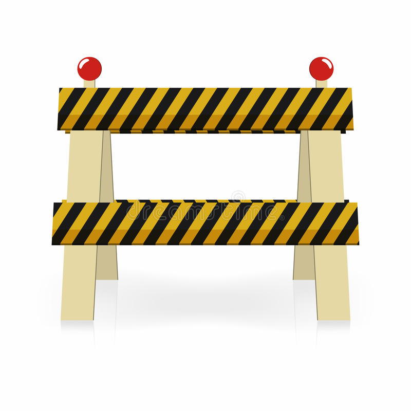 Fence light construction icon. Under construction, street traffic barrier. Black and yellow stripes with lights royalty free illustration
