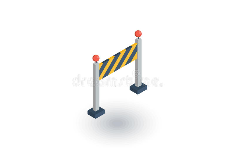 Fence light construction isometric flat icon. 3d vector vector illustration