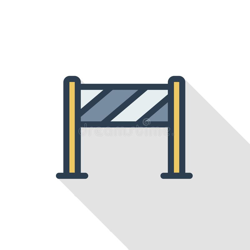 Fence light construction thin line flat color icon. Linear vector symbol. Colorful long shadow design. stock illustration