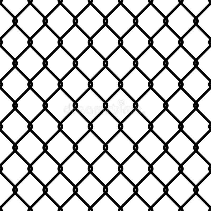 Fence link pattern. Seamless chain texture black mesh wallpaper security wall perimeter industrial safety metal grid vector illustration