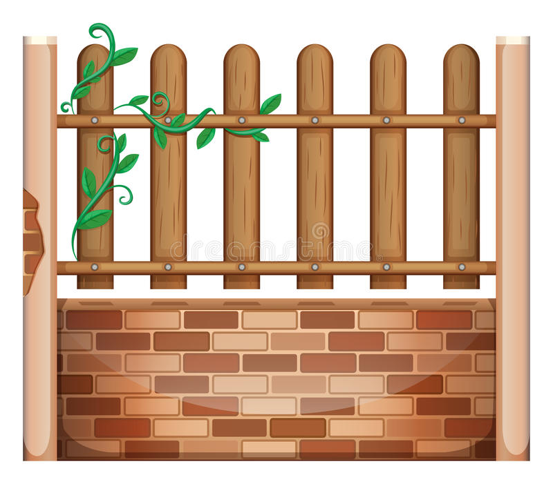A fence made of bricks and woods. Illustration of a fence made of bricks and woods on a white background royalty free illustration