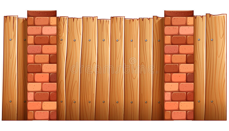 A fence made of wood and bricks. Illustration of a fence made of wood and bricks on a white background vector illustration