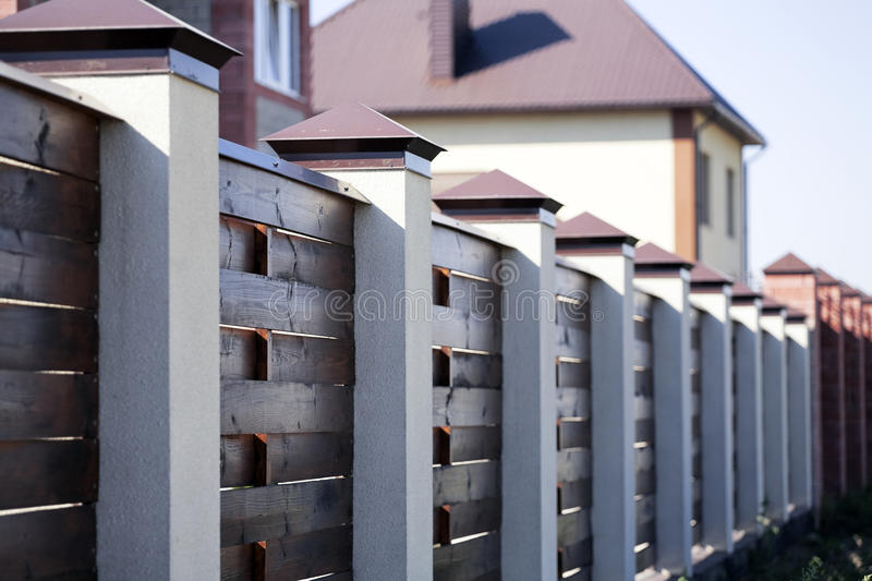 Fence and the modern house stock photos