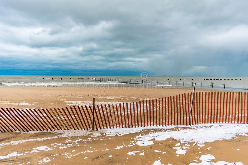 North Avenue Beach in Chicago during Winter royalty free stock photo