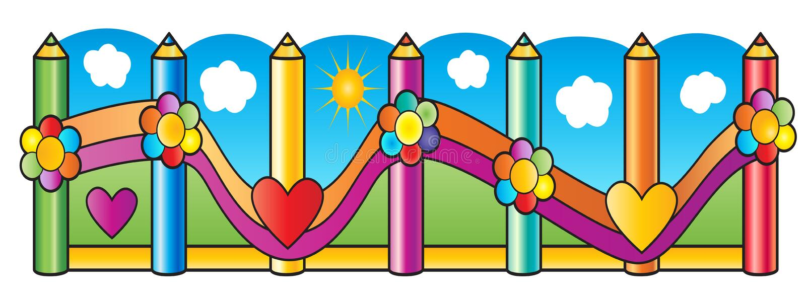Fence Pencils school. Fence pencils, kids playground, preschool. Back to school. Wooden fence of colorful pencils decorated with flowers, hearts, grass. Cartoon stock illustration