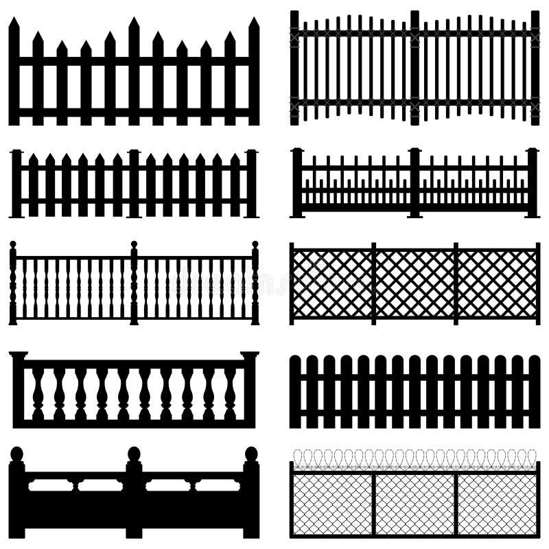 Fence Picket Wooden Wired Brick Garden Park Yard royalty free illustration