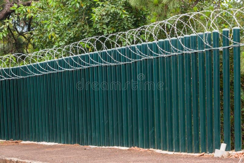 Fence Poles Razor Wire stock image. Image of safety, razor - 81156735