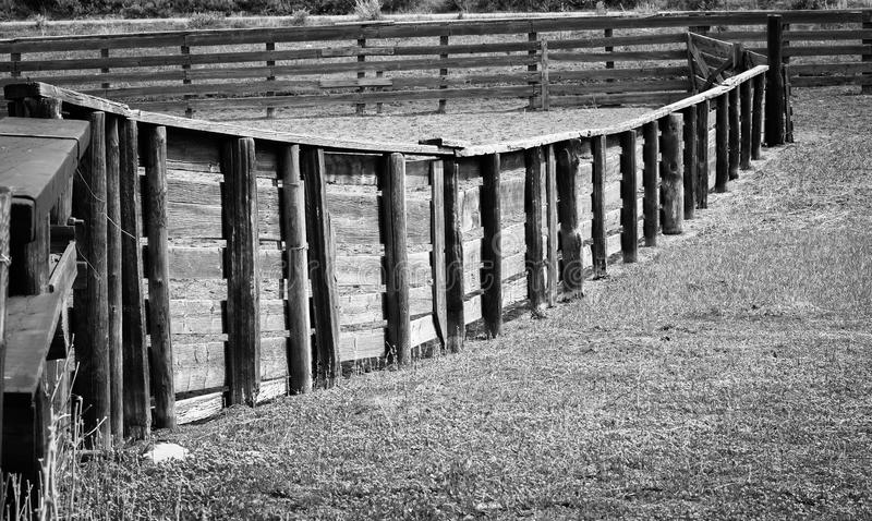 Fence In Sheep Pen Black And White stock photos