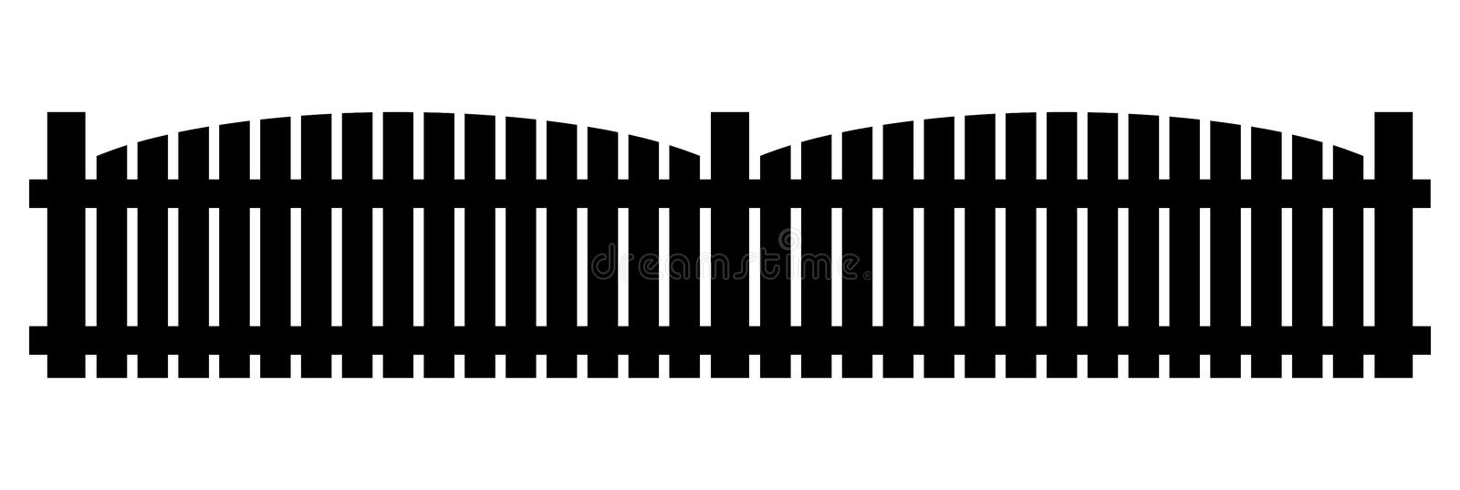 Fence silhouette clipart. Vector illustration isolated on white. Background royalty free illustration