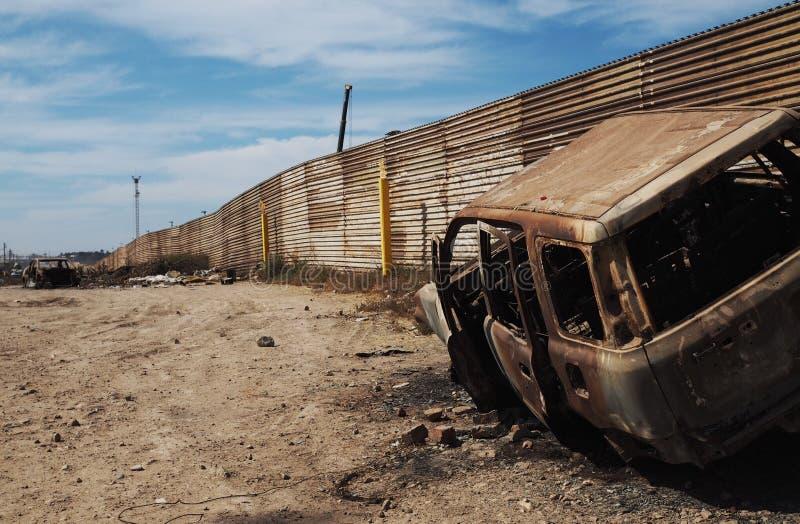 Fence between USA and Mexico stock photos
