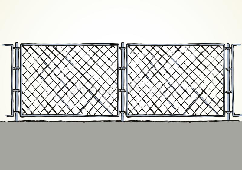 Fence. Vector drawing. Iron Mma enclose detain chainlink framework hedge bar section element on white sky backdrop. Black line hand drawn design logo sign sketch royalty free illustration
