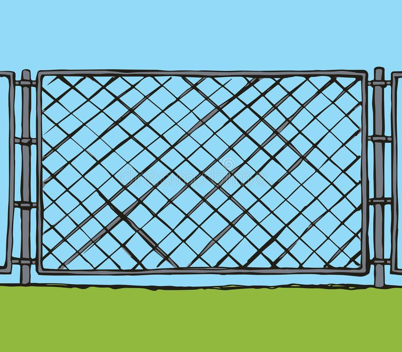 Fence. Vector drawing. Iron Mma enclose detain chainlink framework hedge bar section element on white sky backdrop. Grey line hand drawn design logo sign in stock illustration