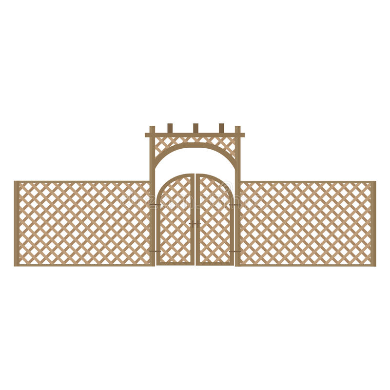Fence vector. Fence and gates on white background royalty free illustration