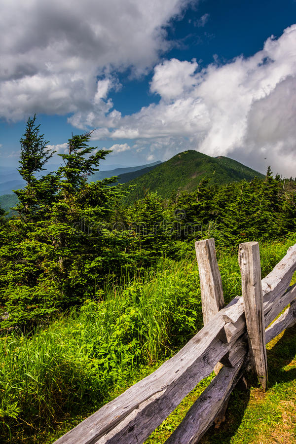 Fence and view of the Appalachians from Mount Mitchell, North Ca. Rolina stock photography