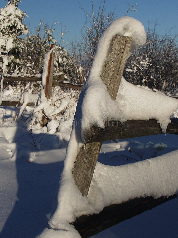 Fence in Winter royalty free stock photos