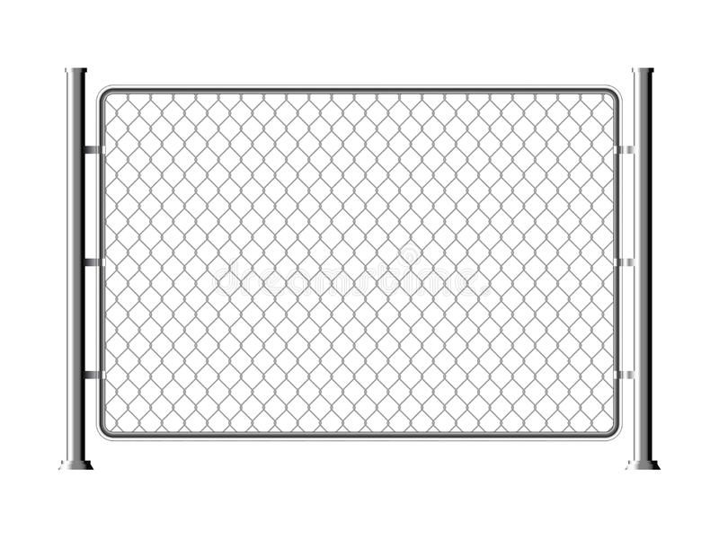 Fence wire metal chain link. Mesh steel net texture fence cage grid wall vector illustration