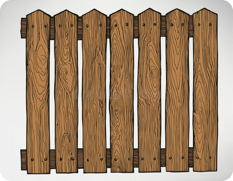 Fence From Wooden Boards Seamless Hand drawing Vector Illustra