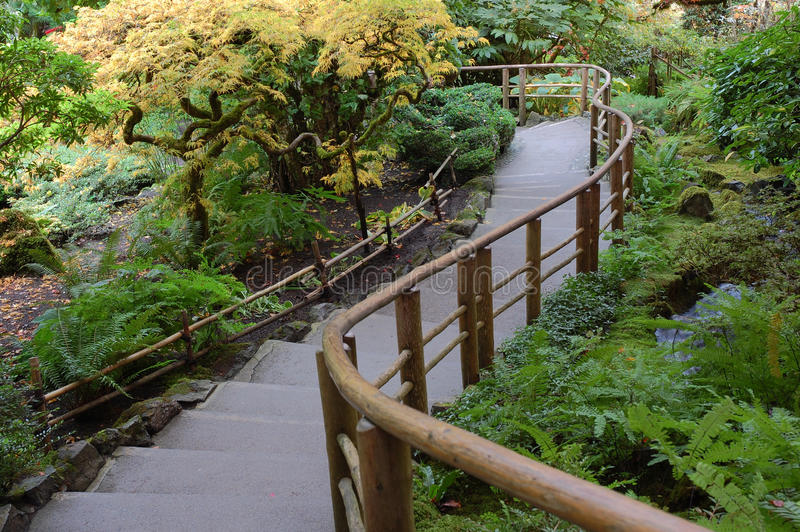Fenced stairs in Japanese Garden royalty free stock image
