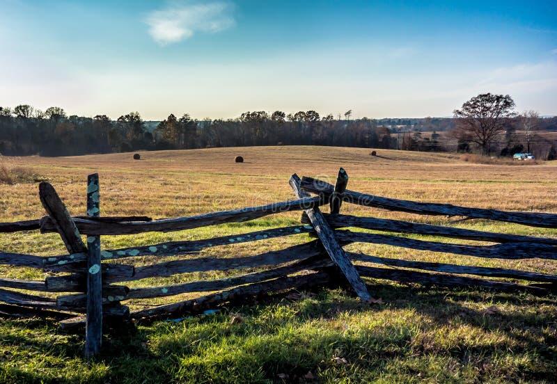 Fenceline and field, Manassas National Battlefield Park stock images