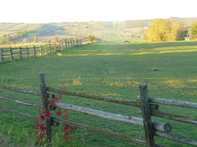 Fences. Around a field in fall royalty free stock photography