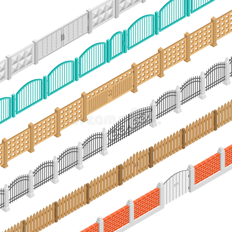 Fences And Gate Isometric Elements. Colorful fences with gate isometric elements set in brick concrete wooden picket performance isolated vector illustration vector illustration