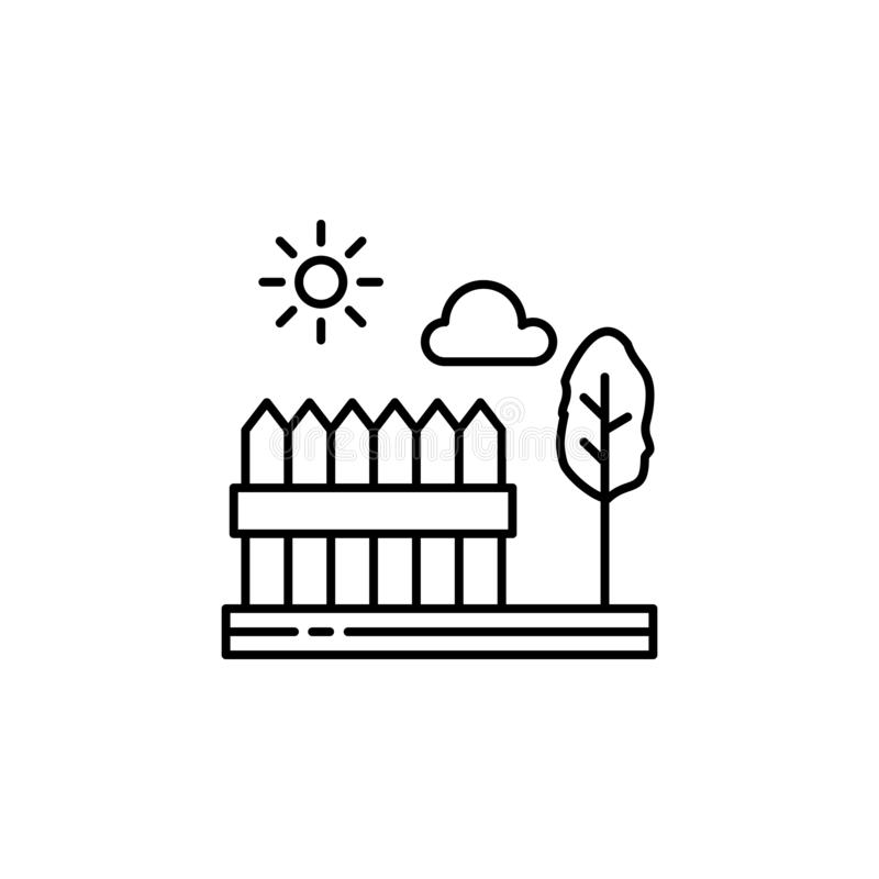 Fences, tree, sunny, cloud outline icon. Element of landscapes illustration. Signs and symbols outline icon can be used for web, royalty free illustration
