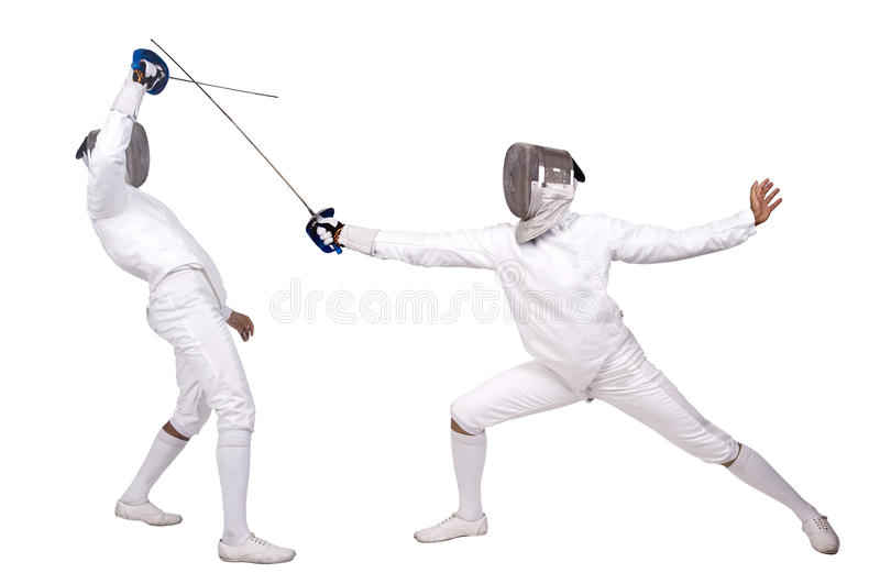 Fencing. Athletes isolated in white