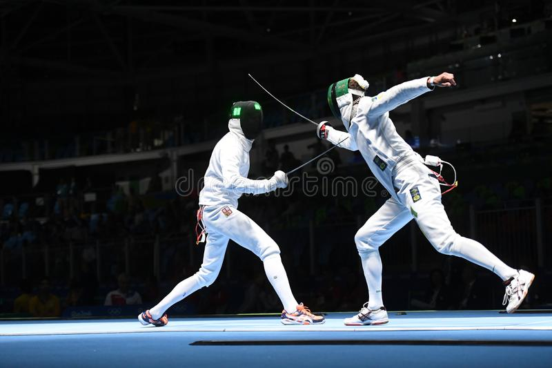 Fencing competition. Rio de Janeiro - Brazil  Fencing competition during the 2016 Olympic Games royalty free stock photo