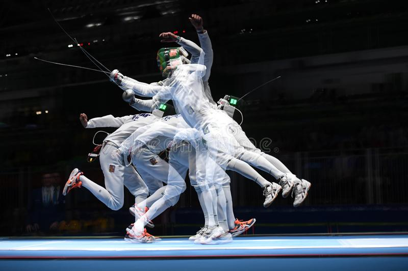 Fencing competition. Rio de Janeiro - Brazil  Fencing competition during the 2016 Olympic Games stock photos